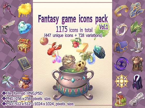 Fantasy game icons pack Vol.1!