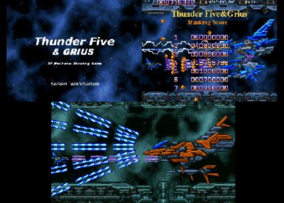 Thunder Five&Grius (RAYHAWK) DLsite提供:同人ゲーム – シューティング