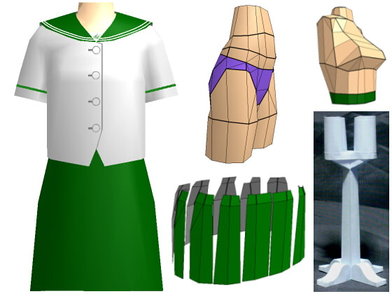 PaperFigure/CN no. 1/summer clothing/green collar  [PaperCostumeFactory]