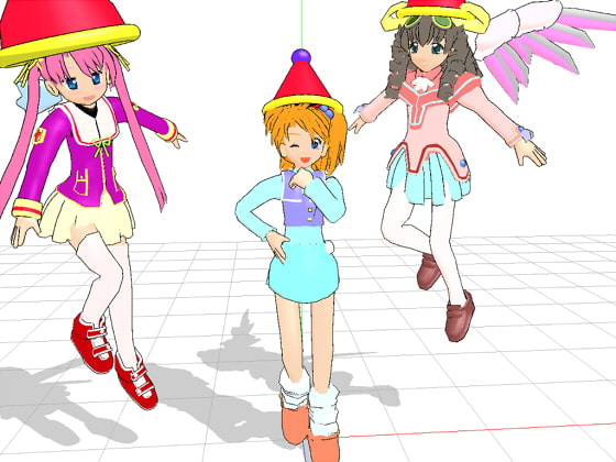 MikuMikuDance PMD Data Set - 3 girls [3D Study Implementation Room]
