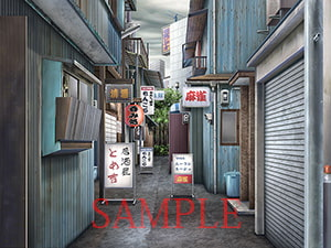 Copyright Free Materials - Japanese Pub Alley, Walled Suburban Residence [QQQnoQnoQ]