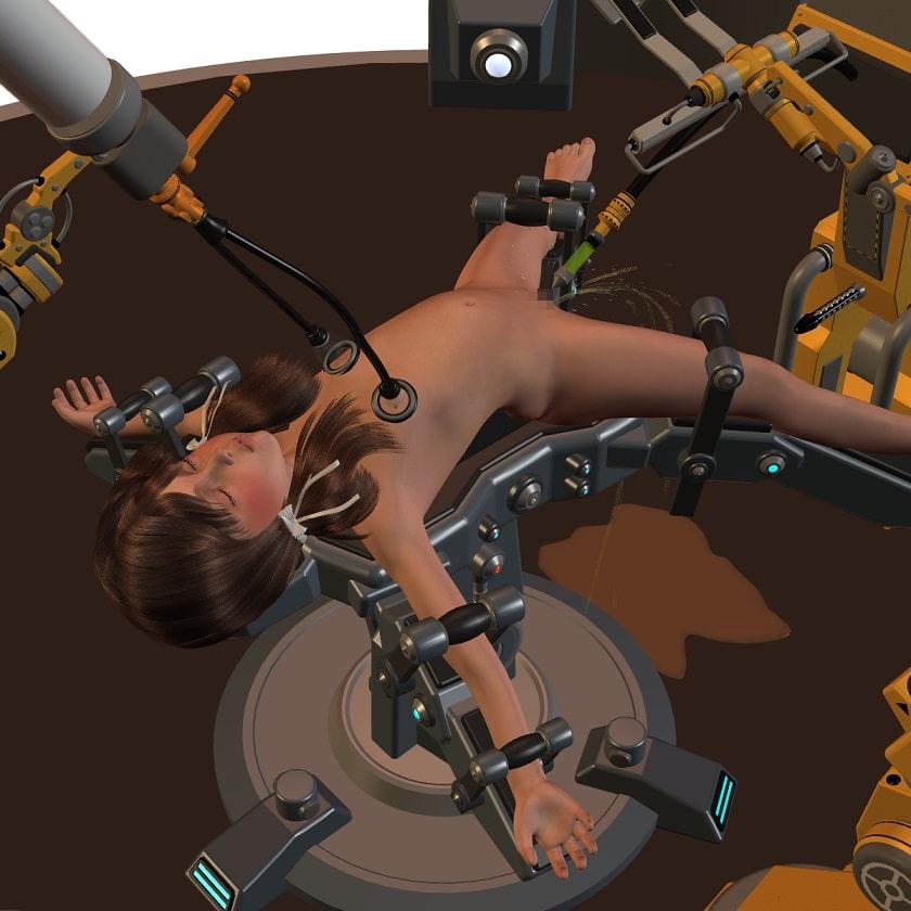 ロボットにいじくり回され飲尿、最後はバック