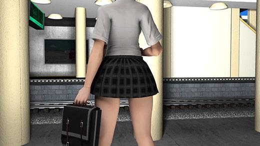 登校中駅のホームで待っていたら特急が通過したためにものすごい風圧でミニスカートが捲れまくっているのに激ミニちゃんは全然気にしない件。