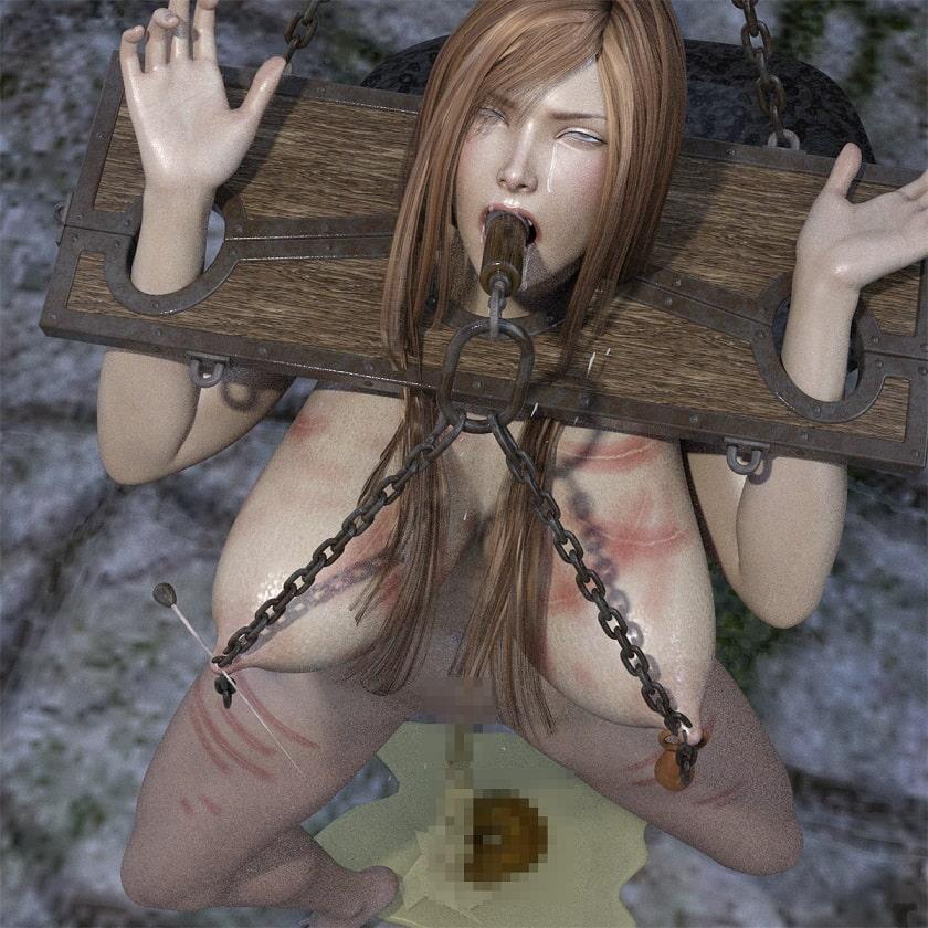 首吊り調教されるムチムチ制服美女