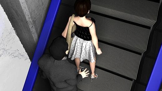 スカート内盗撮行為が多発しているというエスカレーターにて、防犯カメラが捉えたパンチラ盗撮行為の一部始終