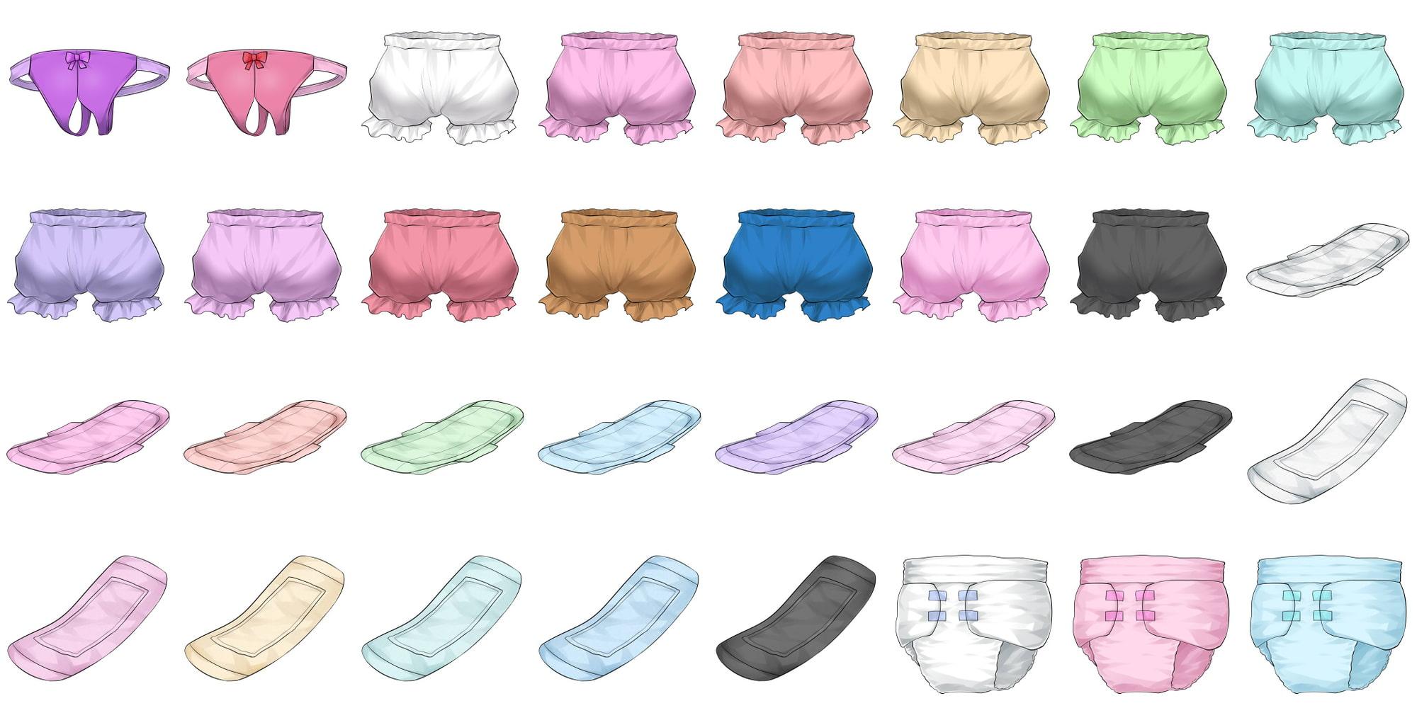 成人向けイラストアイコン素材集 Type.002 - 女性用のパンツと下着