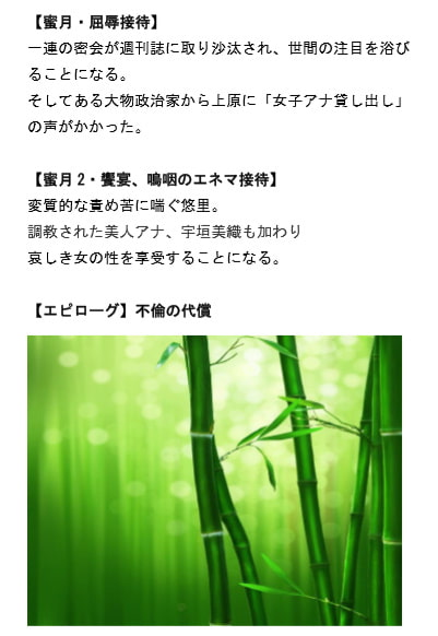 女子アナ密会 ~生々しき熱を帯びた竹林~