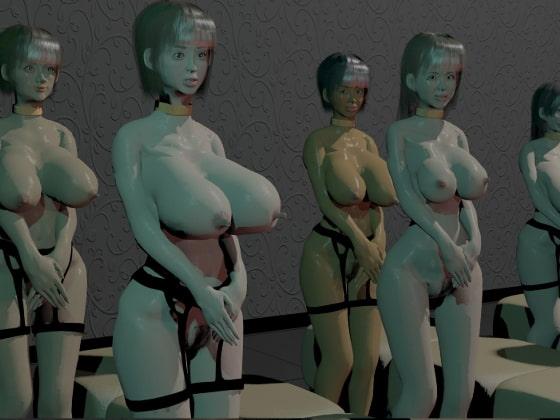 (3DCG集)整列ぶっかけ乱交女8人