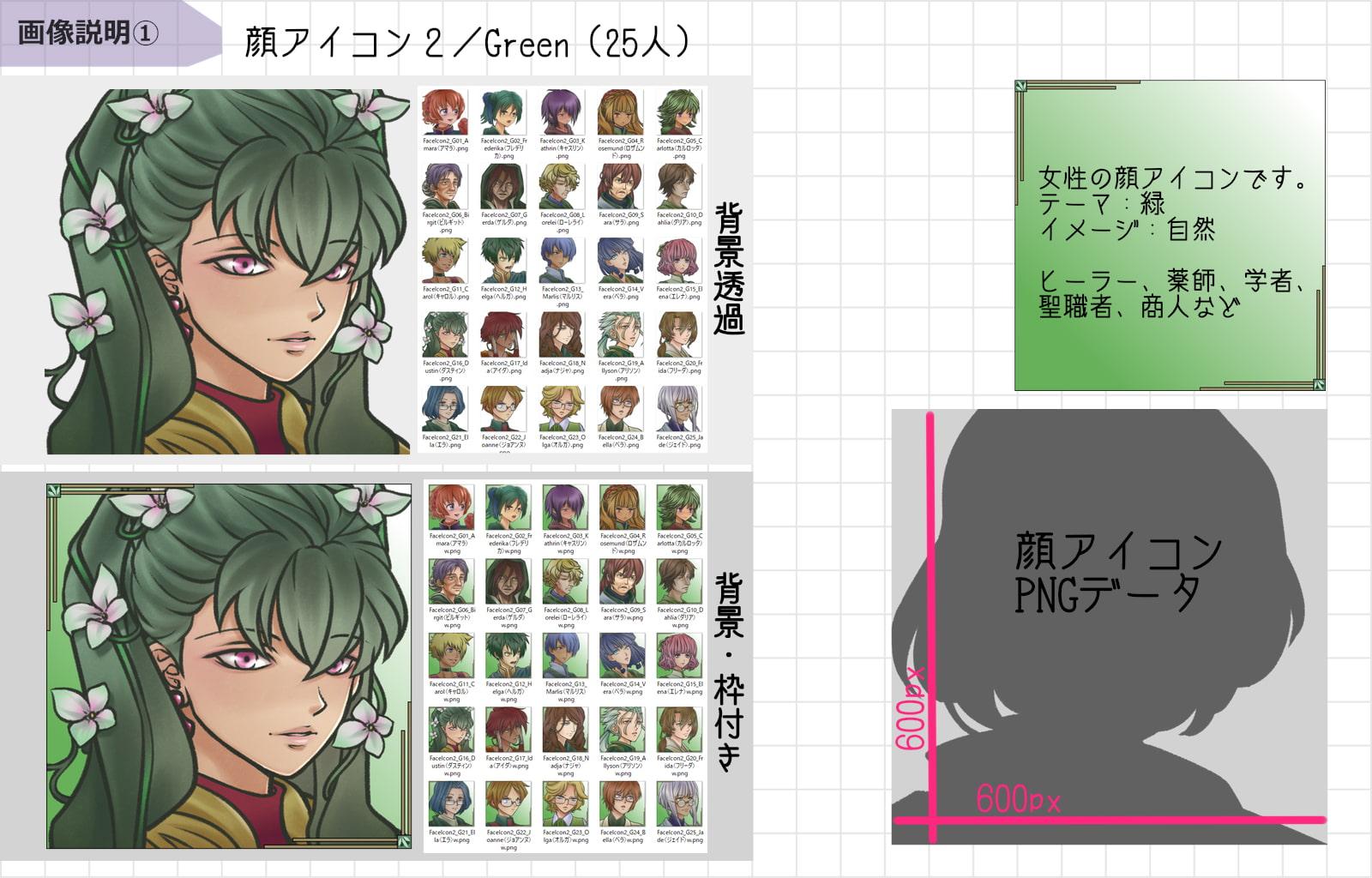 顔アイコン【FaceIcon2】Green