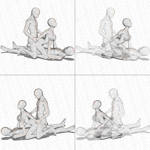 【ポーズ作画資料集030】3Pポーズ6点×2種