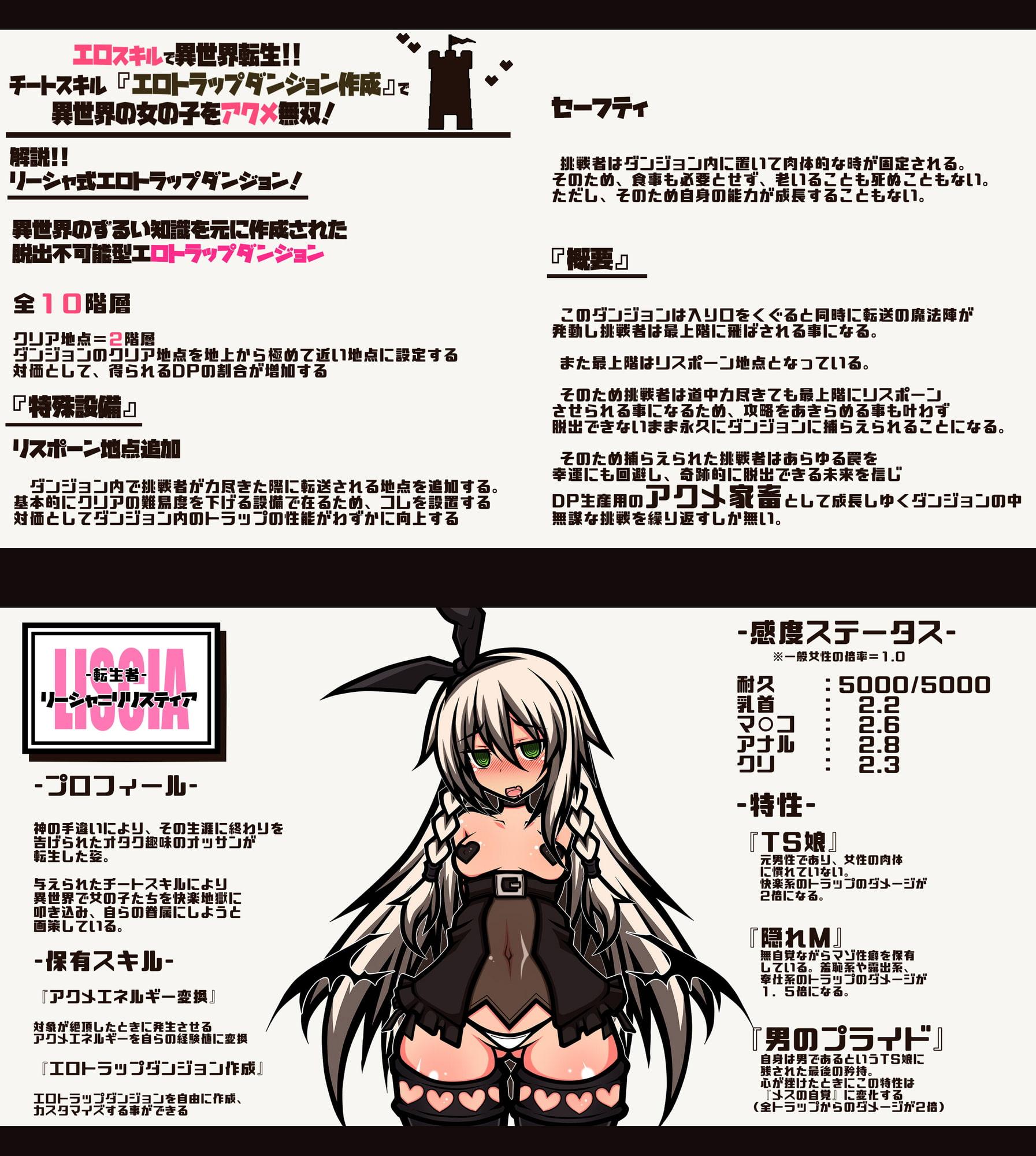 エロスキルで異世界転生!! チートスキル『エロトラップダンジョン作成』で 異世界の女の子をアクメ無双!!