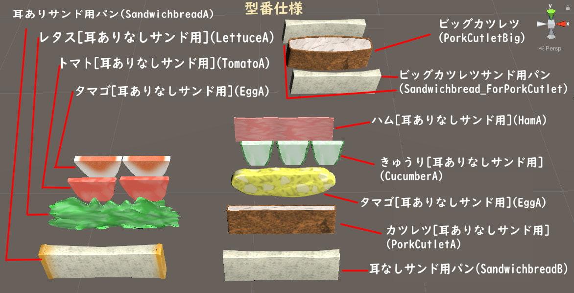 [商用利用可能]3D素材・パン・サンドイッチ・かごセット
