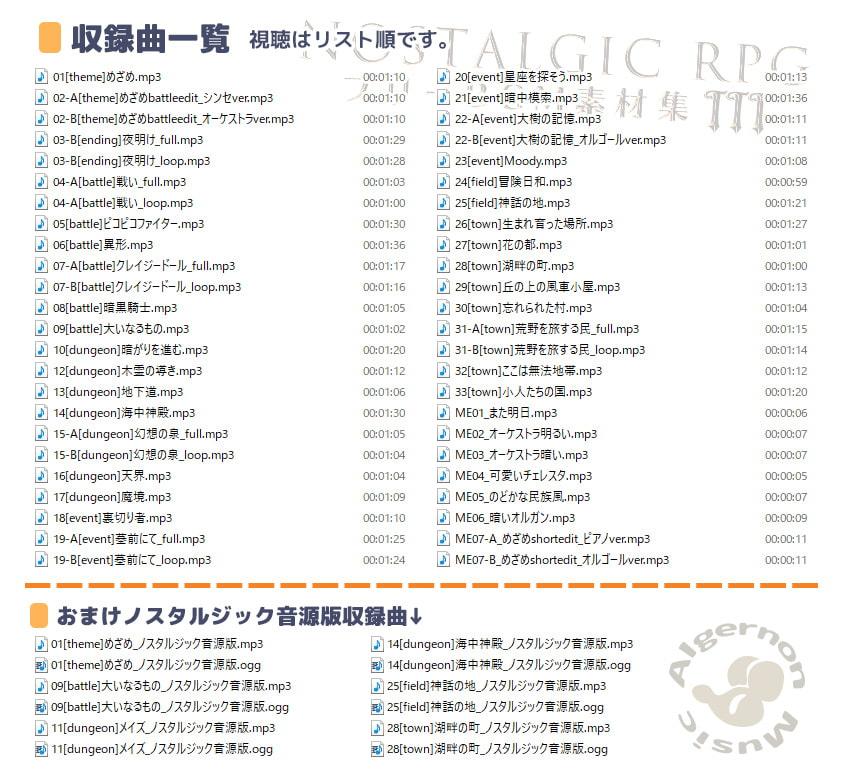 Algernon Music ロイヤリティフリー素材集 RPG制作向けバンドル 2