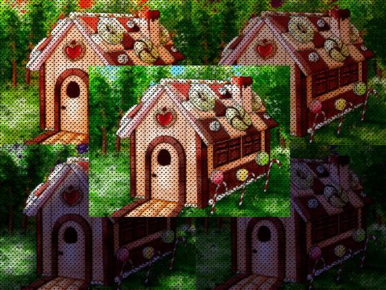 お菓子の小屋イラスト背景素材