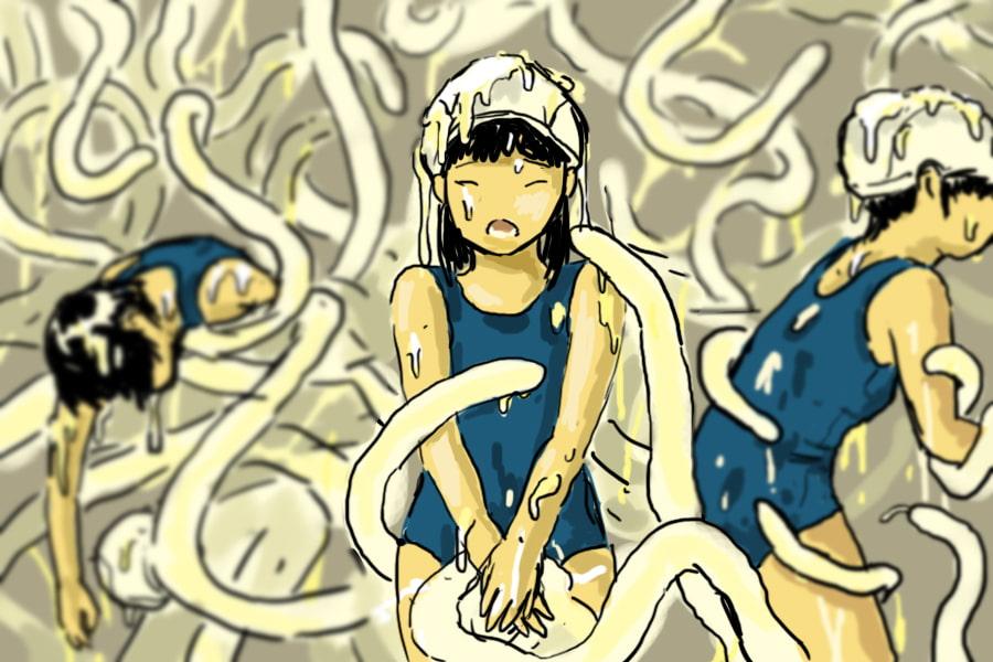 触手生物に襲われる女子生徒1