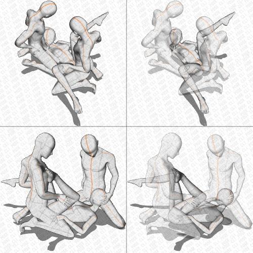 【ポーズ作画資料集052】3Pポーズ6点×2アングル×2種