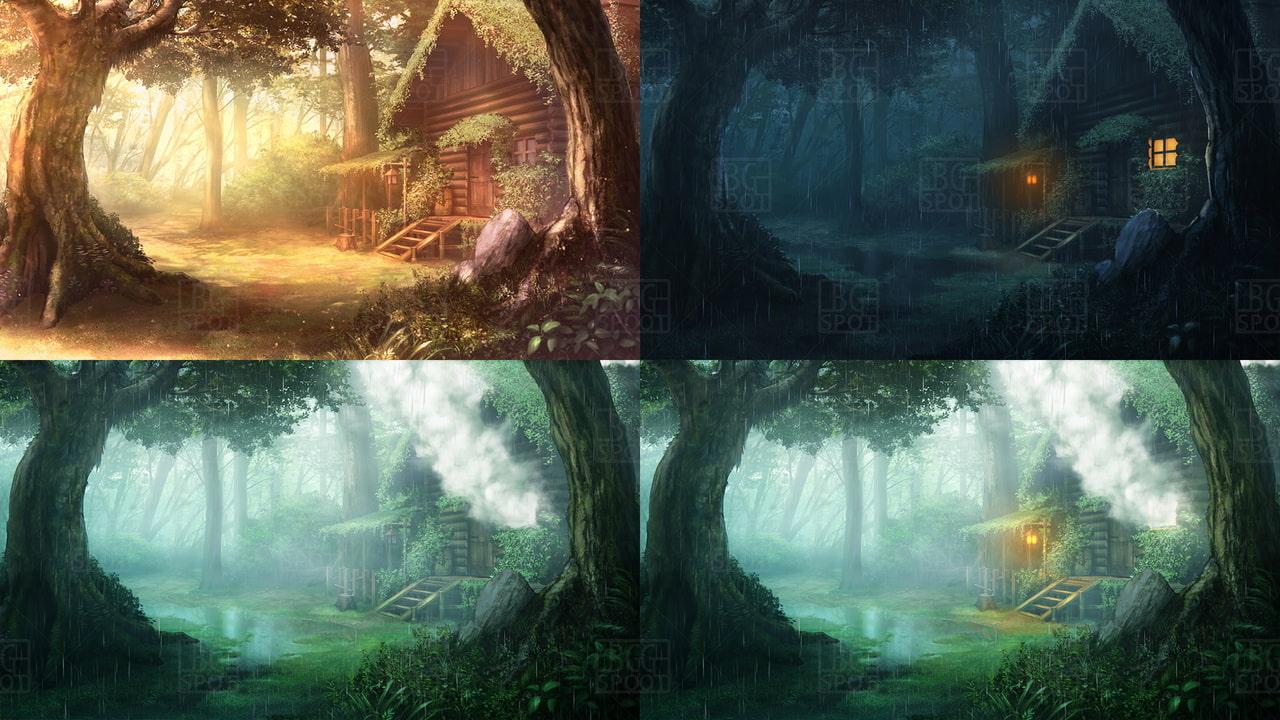 BG_川のほとりのログハウス(商品番号:RJ328703)