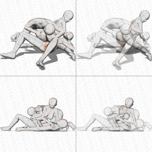 【ポーズ作画資料集055】3Pポーズ6点×2アングル×2種
