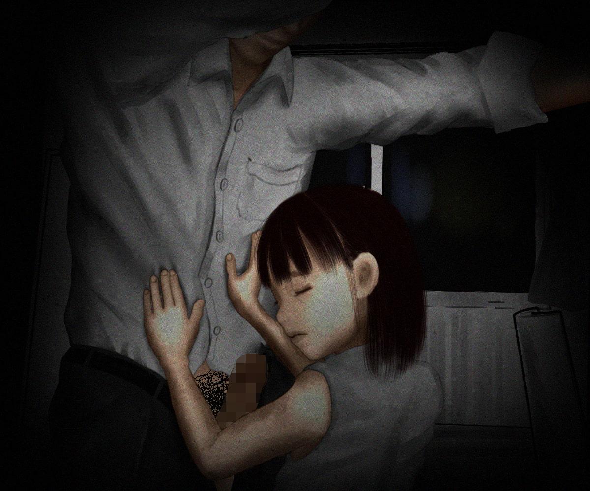 女の子が薄暗い部屋でなにかされていますが・・・