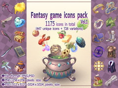 Fantasy game icons pack Vol.1 [Mori no oku no kakurezato]
