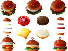 食べ物イラスト素材-ハンバーガー素材-