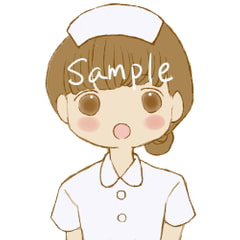 Nurse Girl Illustration / 6 Expressions [Cat & French Bread]